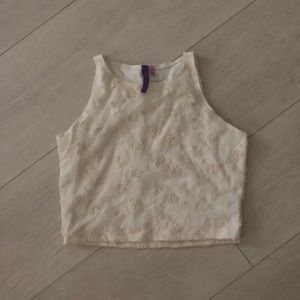 LF Off White Lace Crop Tank